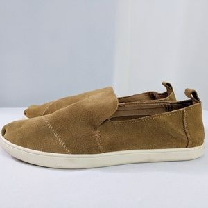 Toms Tan Suede Slip On Loafers Size 6M